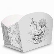 Caixa | Embalagem para Porções e Batata Frita BRANCO E PRETO - 100 Unidades