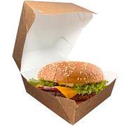 Caixinha Embalagem para Hamburguer Branca e Kraft 100 unidades