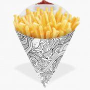 Cone   Embalagem para Batata Frita e Porções BRANCO E PRETO GRANDE - 100 unidades