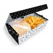Delivery | Box para Combos (Hambúrguer e Batata Frita) GRANDE PRETO E BRANCO - 100 unidades