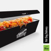 Delivery   Embalagem para Hot Dog 30cm PRETO - 100 unidades
