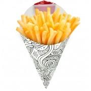 Cone | Embalagem para Batata Frita e Porções BRANCO E PRETO MÉDIO - 100 unidades