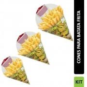 KIT | Combo de Embalagens em Cone P, M, G VÁRIAS CORES - 100 unidades de cada