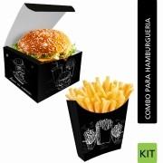 KIT Embalagens para Hambúrguer e Batata Frita - 100 Unidades