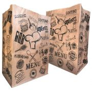 Saco Kraft para Delivery ESTAMPA MENU - 100 unidades