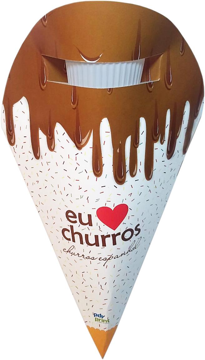 Embalagem Cone para Churros Espanhol - 100 unidades