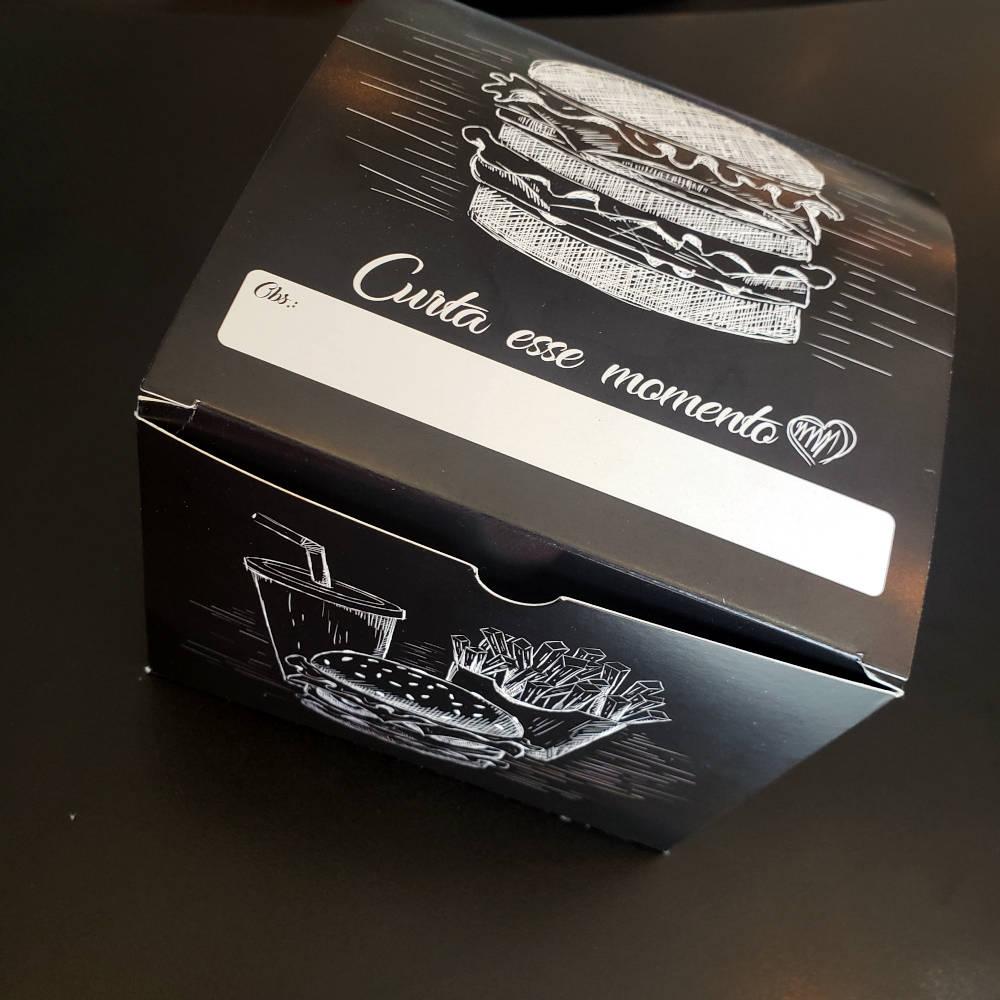 Box | Embalagem para Hambúrguer Delivery GG PRETO - 100 unidades