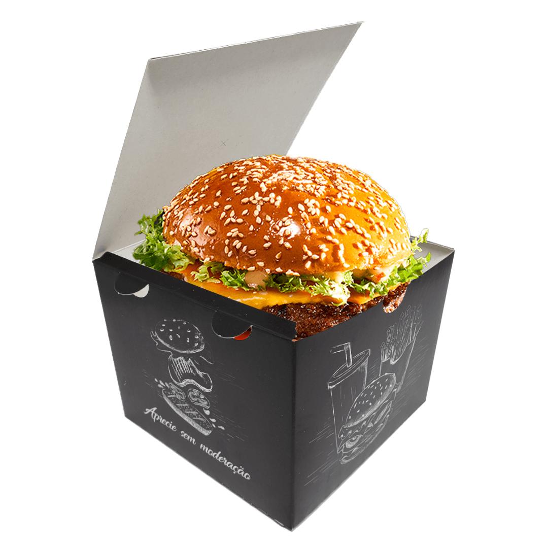 Box | Embalagem para Hambúrguer Artesanal GG PRETO - 100 unidades
