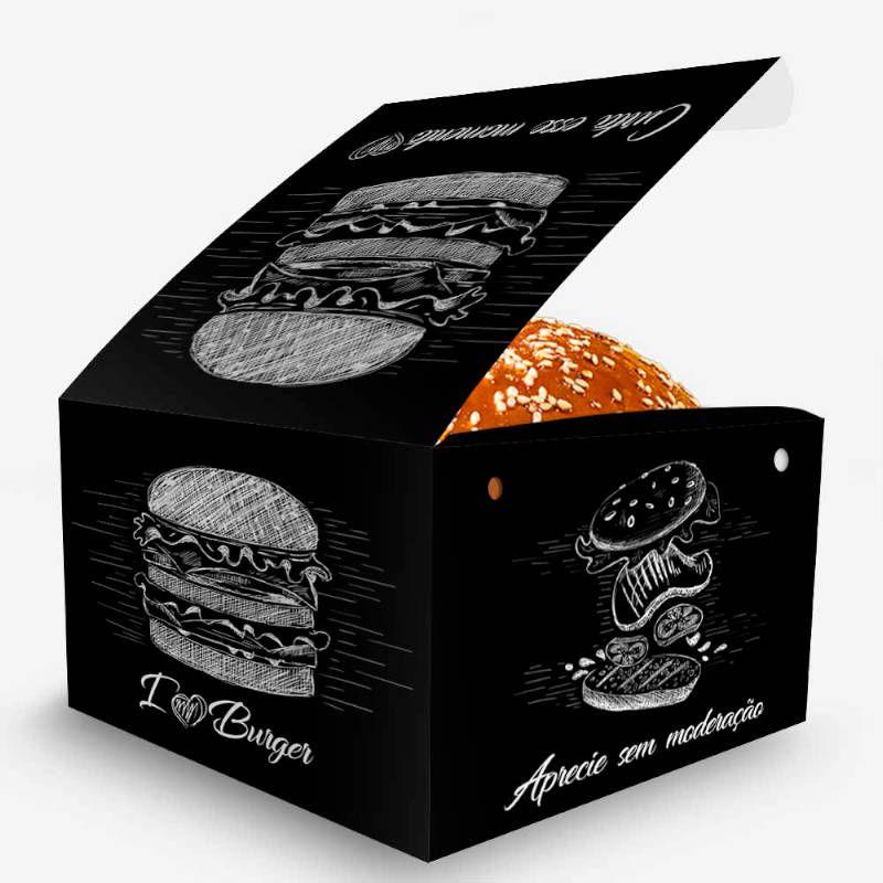 Box | Embalagem para Hambúrguer Artesanal Grande PRETO – 100 Unidades