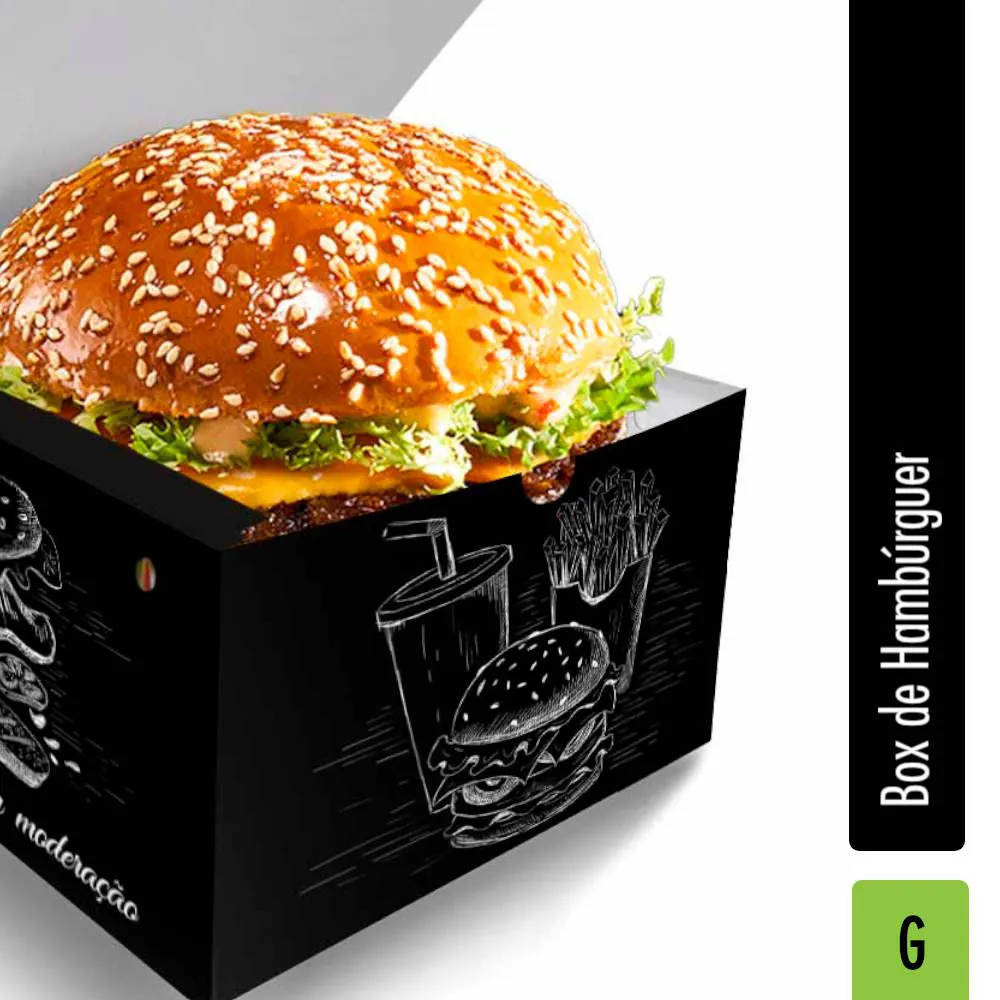 Box | Embalagem para Hambúrguer GRANDE PRETO - 500 unidades