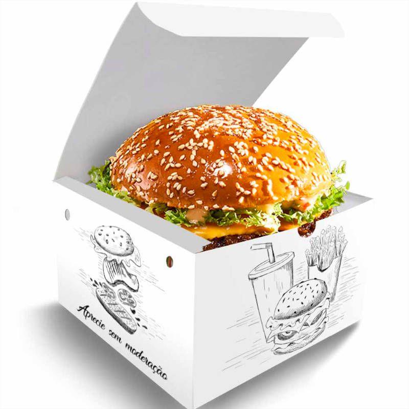 Box | Embalagem para Hambúrguer P Gourmet – Várias Cores – 100 Unidades