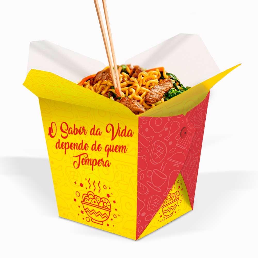 Box | Embalagem para Macarrão / Arroz Delivery AMARELO GRANDE 1000ml - 100 unidades