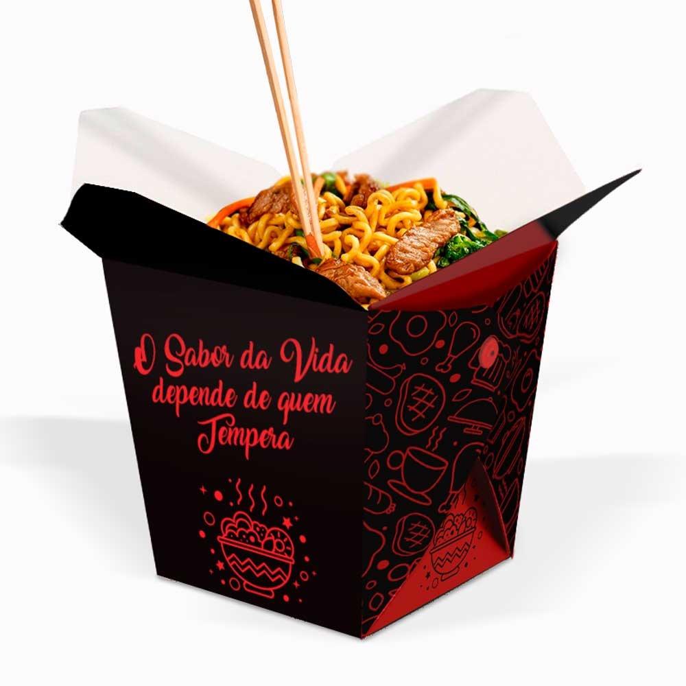 Box | Embalagem para Macarrão / Arroz Delivery PRETO PEQUENO 500ml - 100 unidades