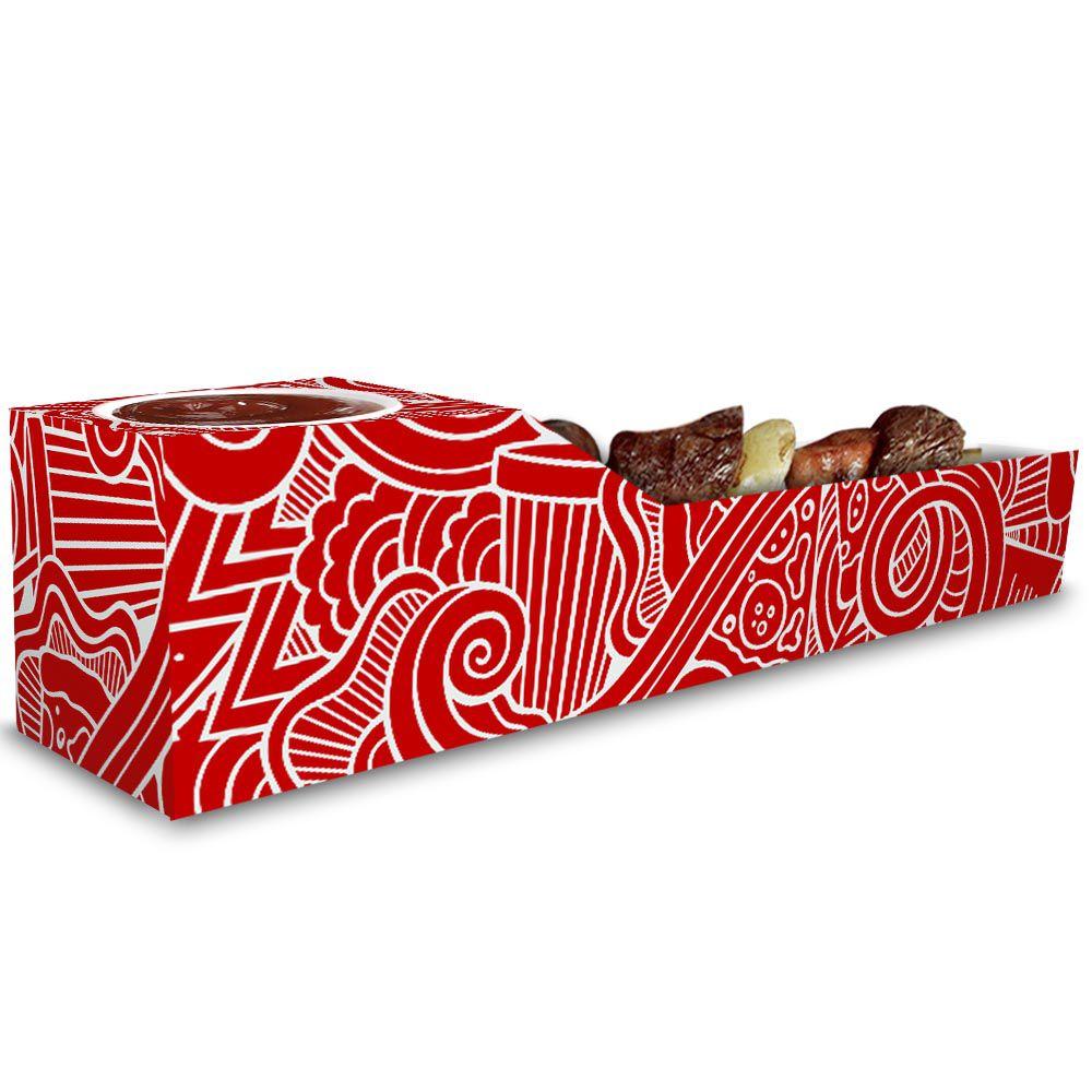 Caixa | Embalagem de Espetinho c/ Molho VERMELHO - 100 Unidades
