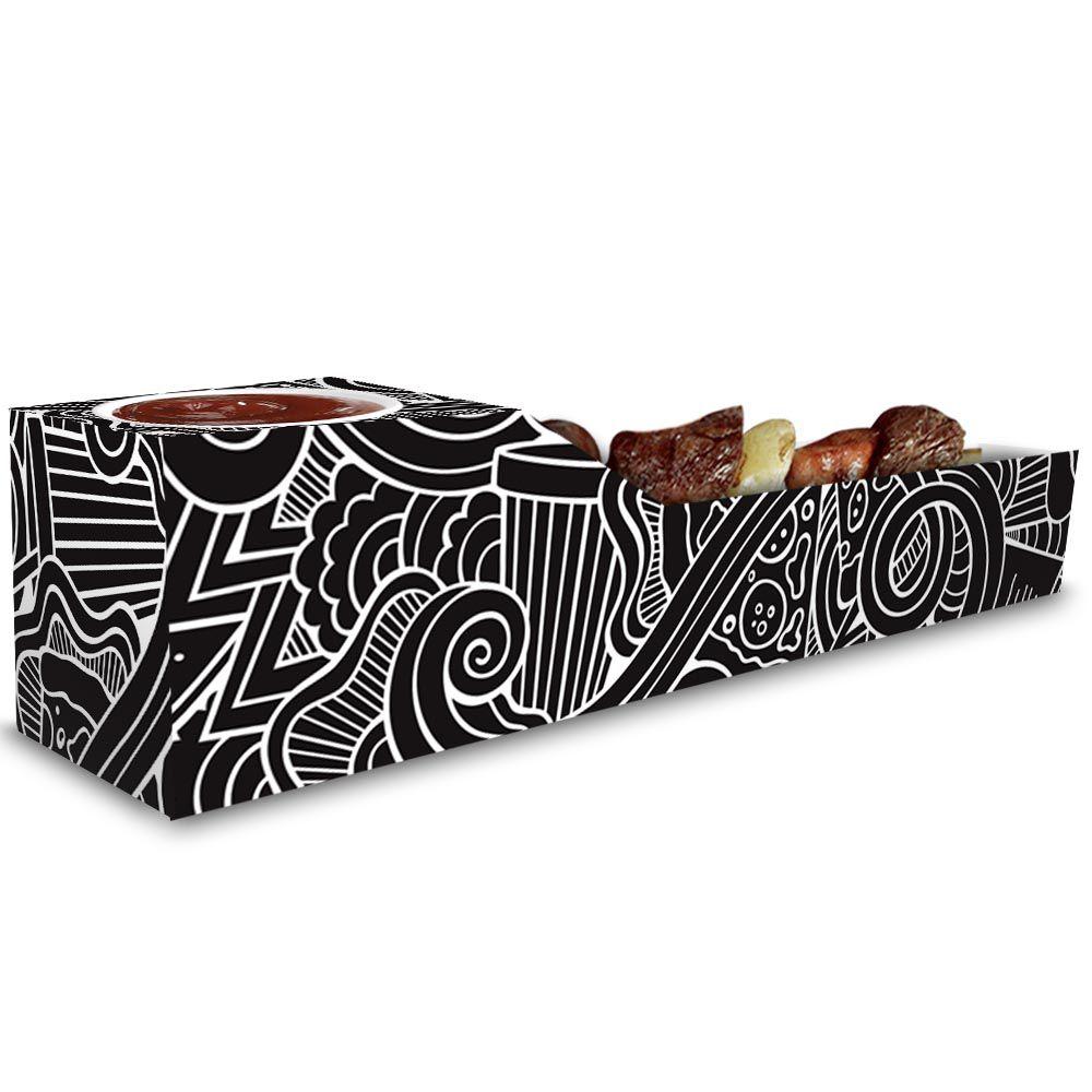 Caixa | Embalagem de Espetinho c/ Molho PRETO E BRANCO - 100 Unidades