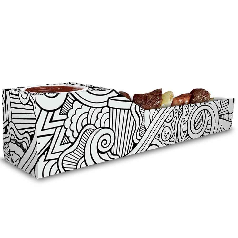 Caixa | Embalagem de Espetinho c/ Molho BRANCO E PRETO - 100 Unidades