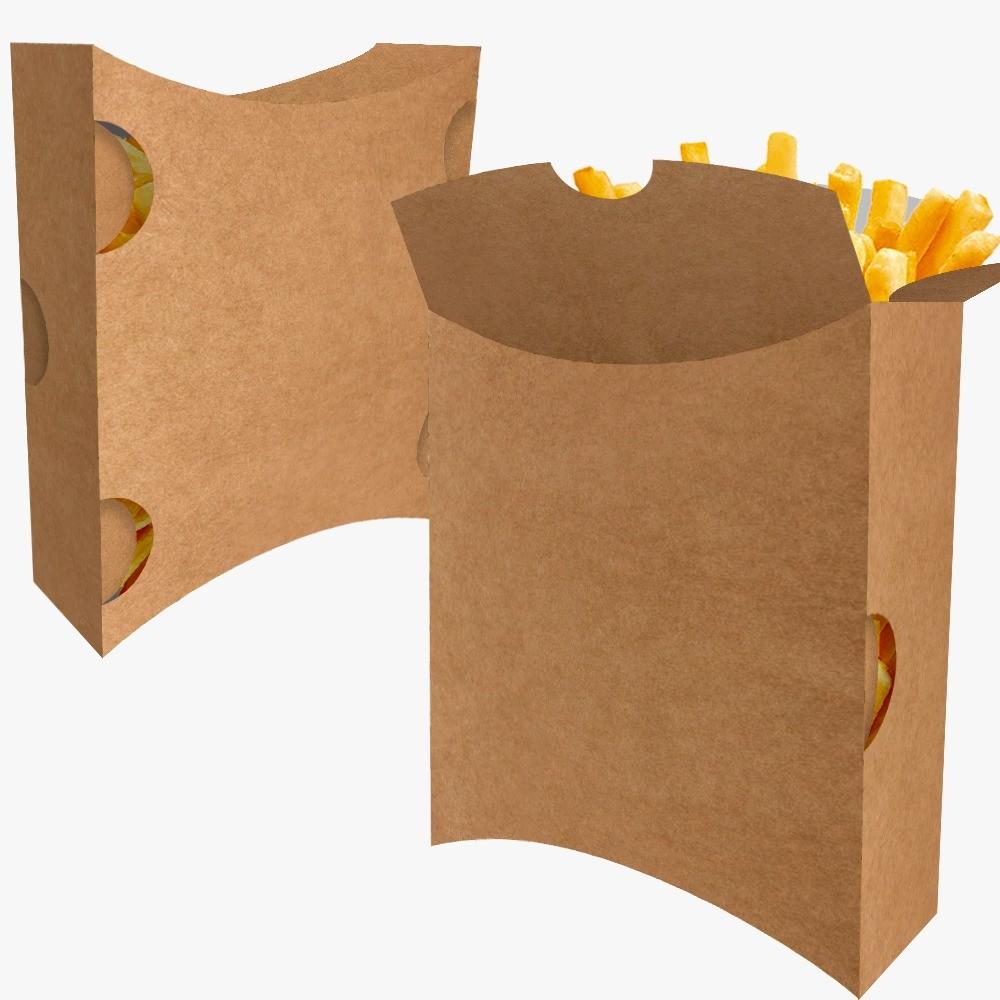 Caixa | Embalagem para Batata Frita Delivery KRAFT - 100 unidades