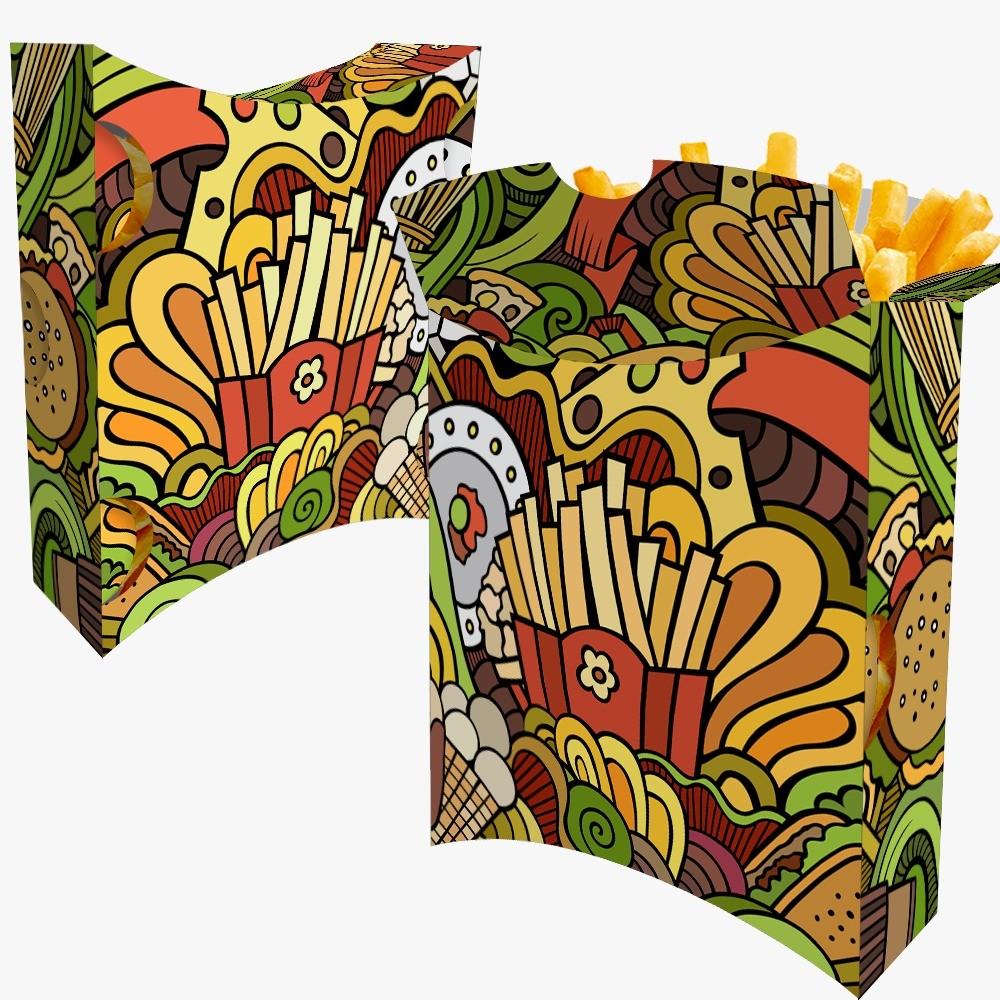 Caixa | Embalagem para Batata Frita Delivery VERDE - 100 unidades