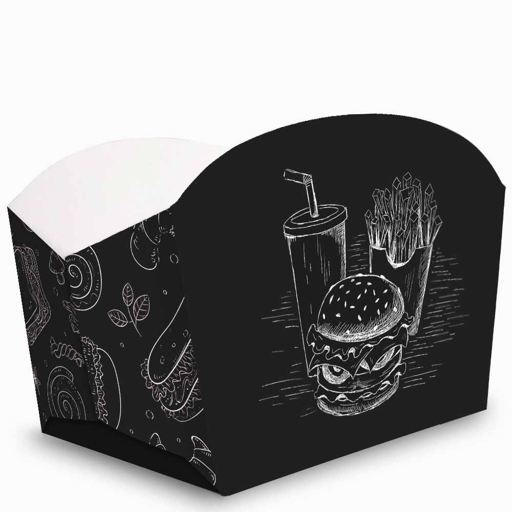 Caixa | Embalagem para Porções e Batata Frita PRETO - 100 Unidades