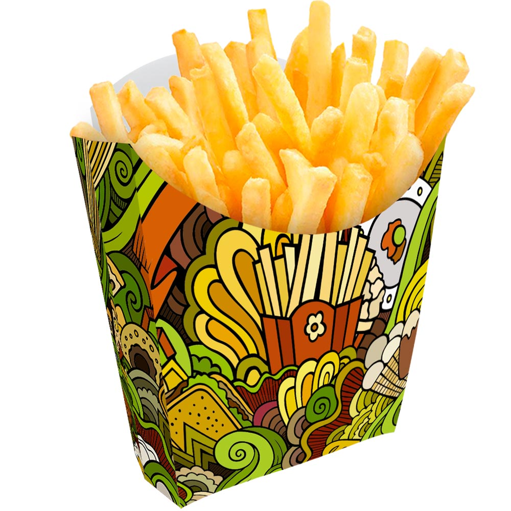 Caixinha | Embalagem para Batata Frita VERDE - 100 unidades