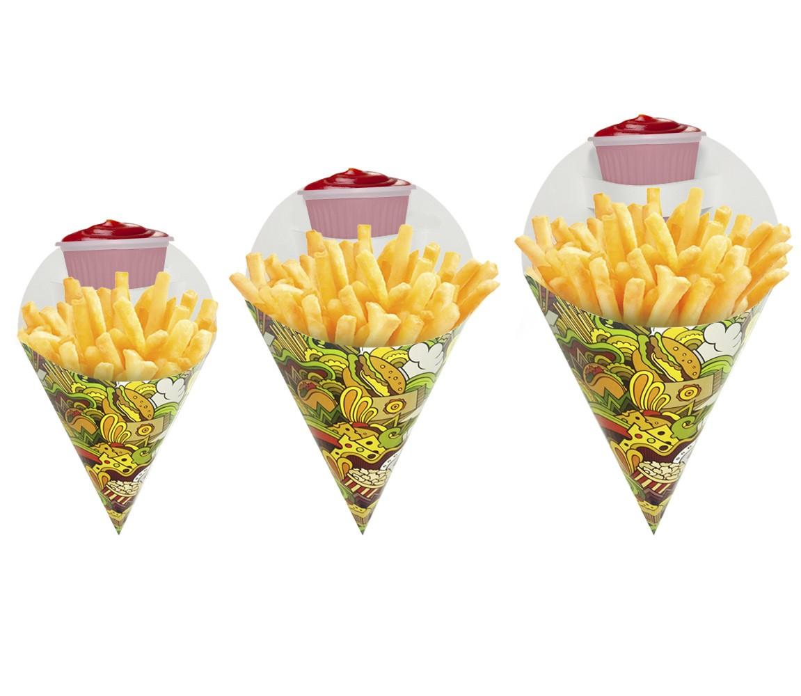 Combo Embalagem Cone para Porções Diversas Verde 100 un cada