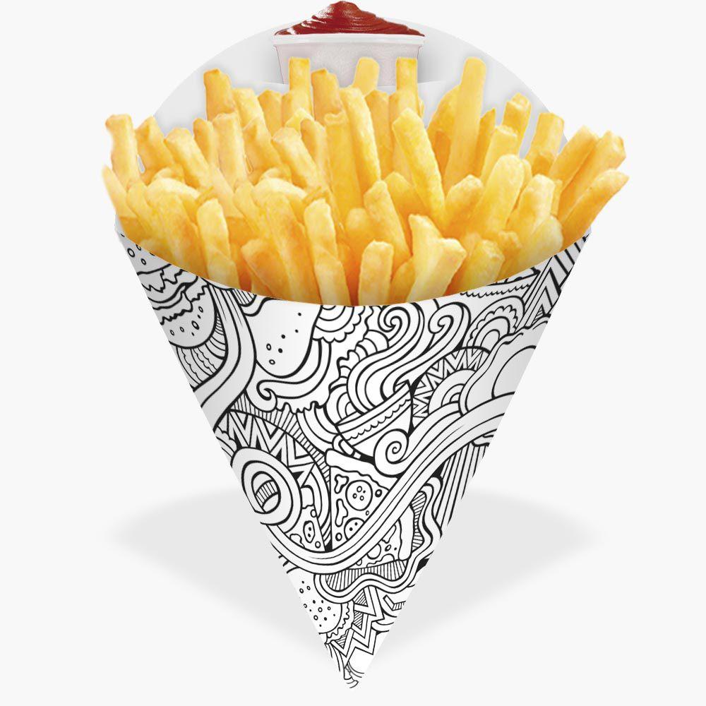 Cone | Embalagem para Batata Frita e Porções BRANCO E PRETO GRANDE - 100 unidades