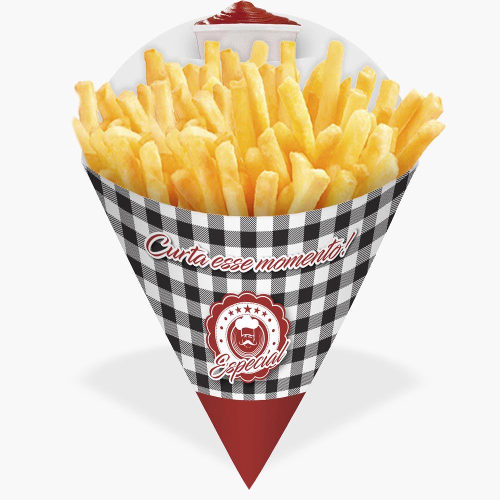 Cone | Embalagem para Batata Frita e Porções XADREZ GRANDE - 100 unidades