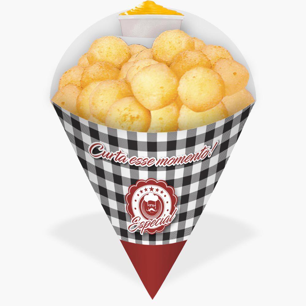 Cone | Embalagem Grande para Batata Frita e Porções – Xadrez