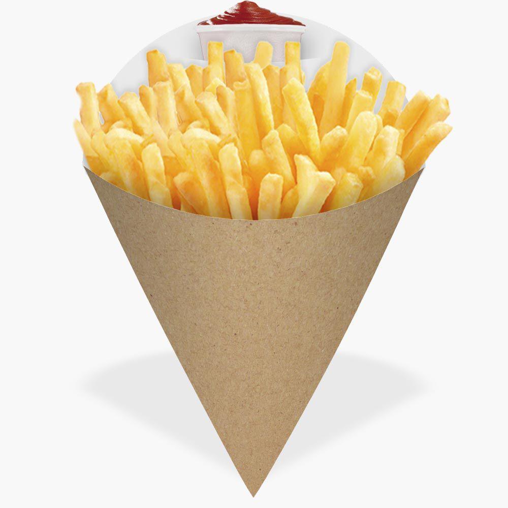 Cone | Embalagem para Batata Frita e Porções KRAFT MÉDIO - 100 unidades