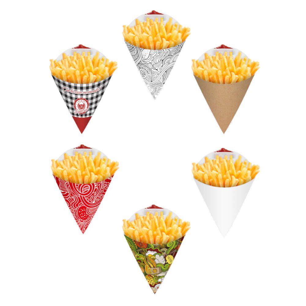 Cone | Embalagem para Batata Frita e Porções VÁRIAS CORES MÉDIO - 100 unidades