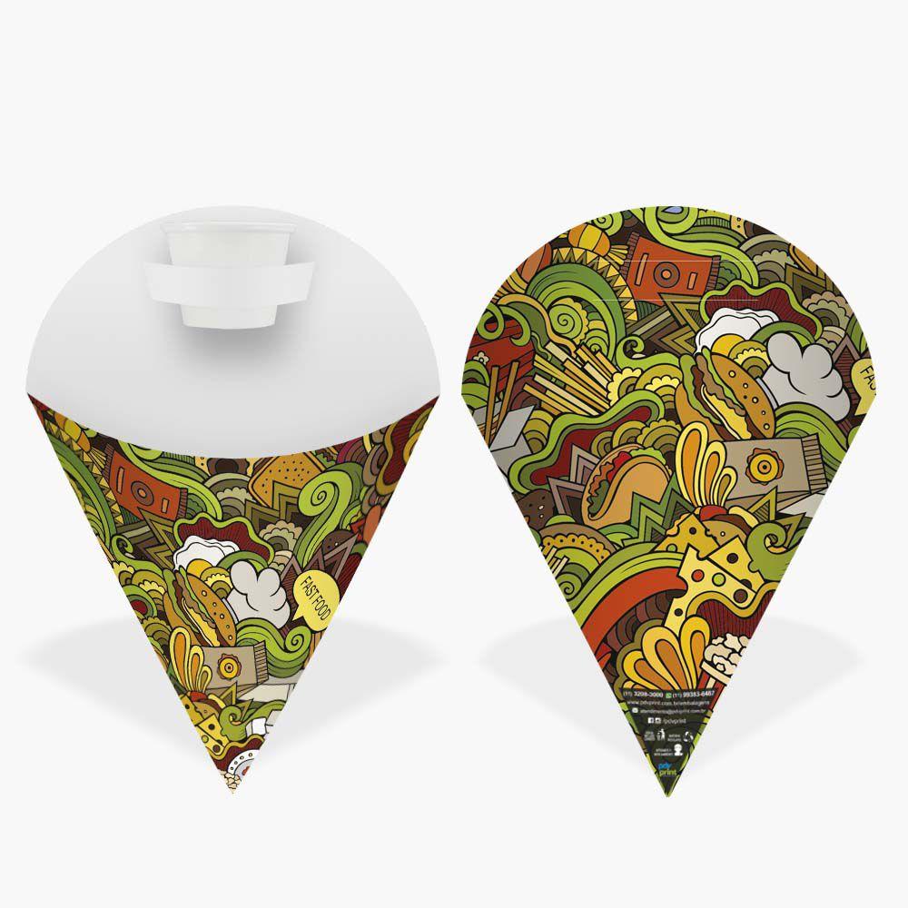 Cone | Embalagem Pequena para Batata Frita e Porções – Verde