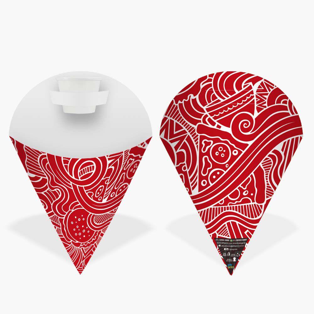Cone   Embalagem Pequena para Batata Frita e Porções – Vermelho