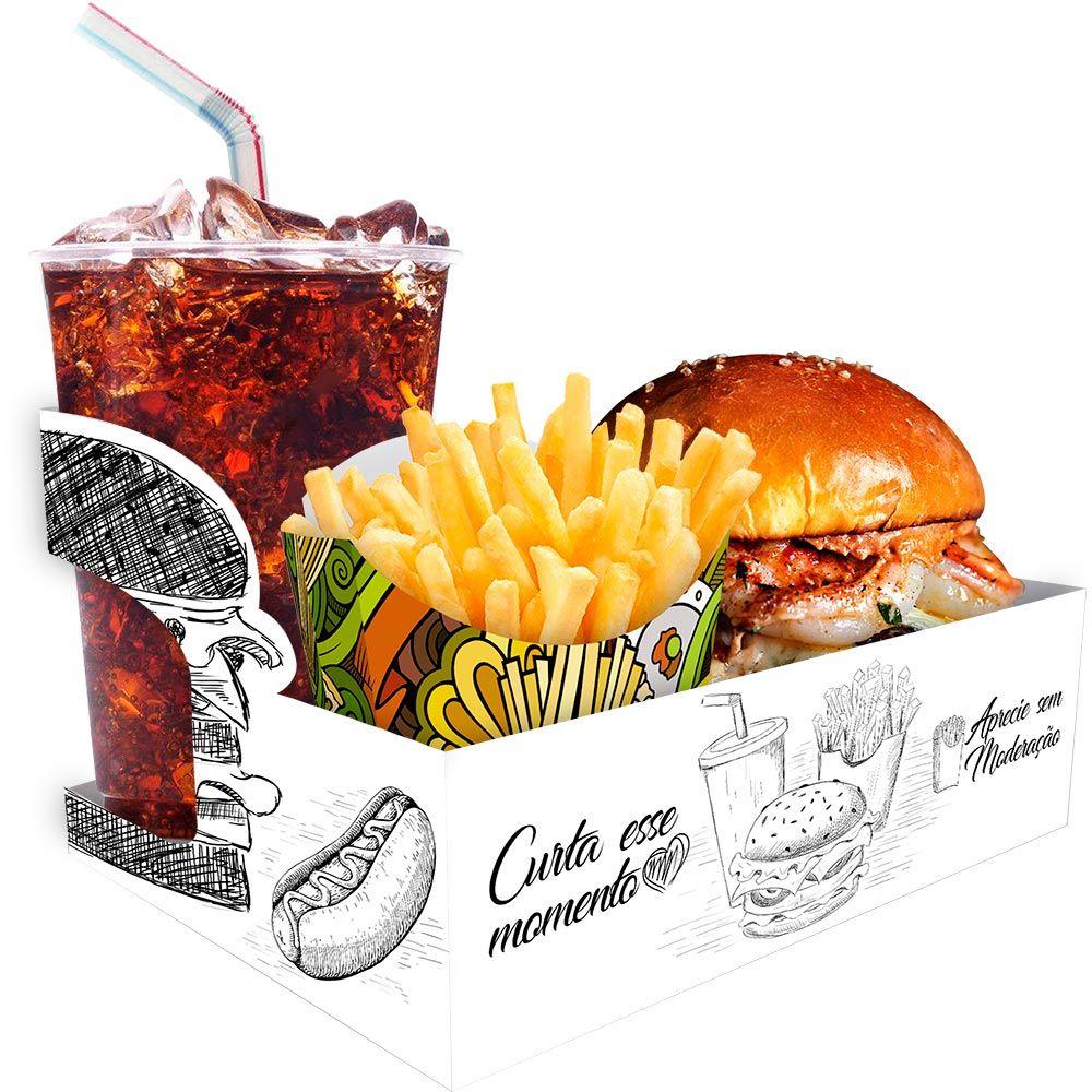Embalagem suporte para combo hamburguer, fritas e bebida 500 uni
