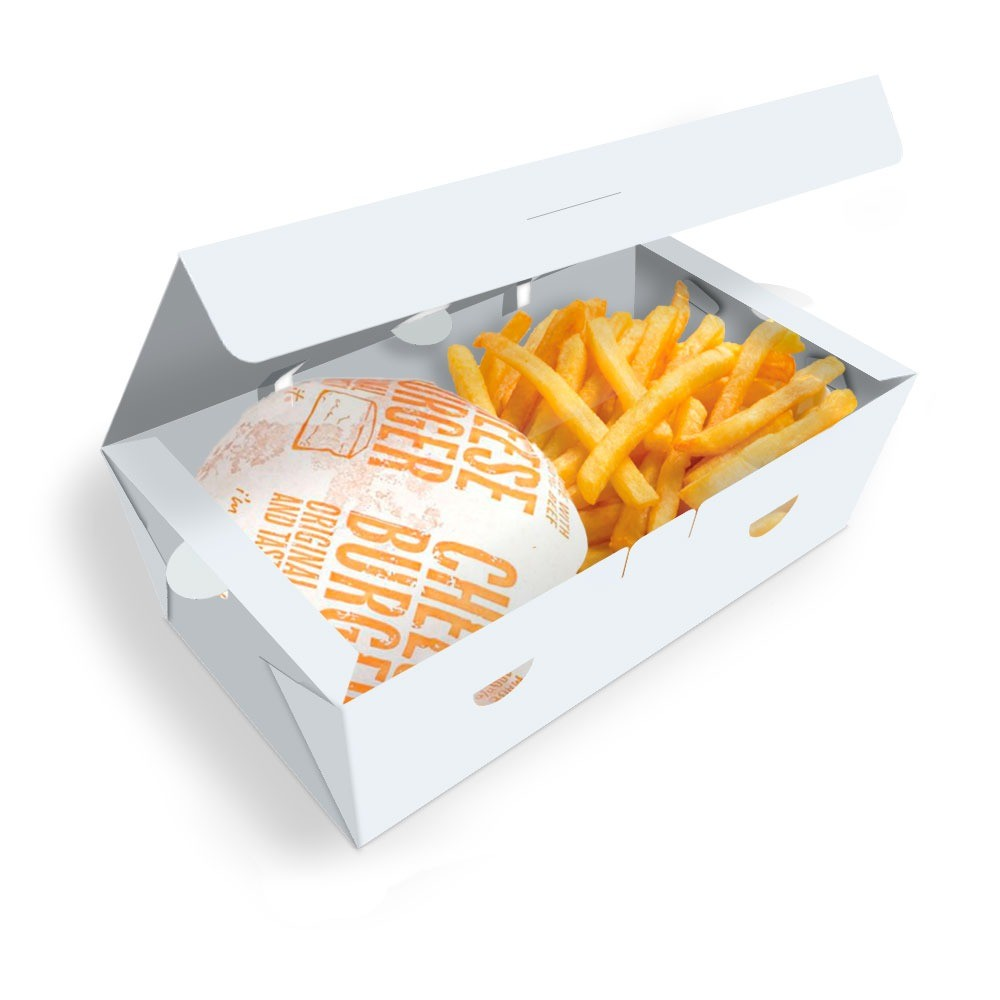 Delivery | Box para Combos (Hambúrguer e Batata Frita) GRANDE BRANCO - 100 unidades