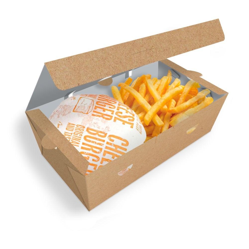 Delivery | Box para Combos (Hambúrguer e Batata Frita) GRANDE KRAFT - 100 unidades