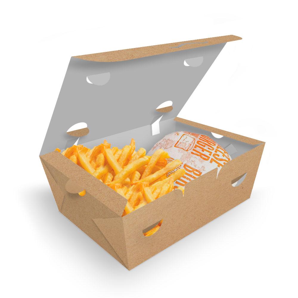 Delivery | Box para Combos (Hambúrguer e Batata Frita) MÉDIO KRAFT - 100 unidades