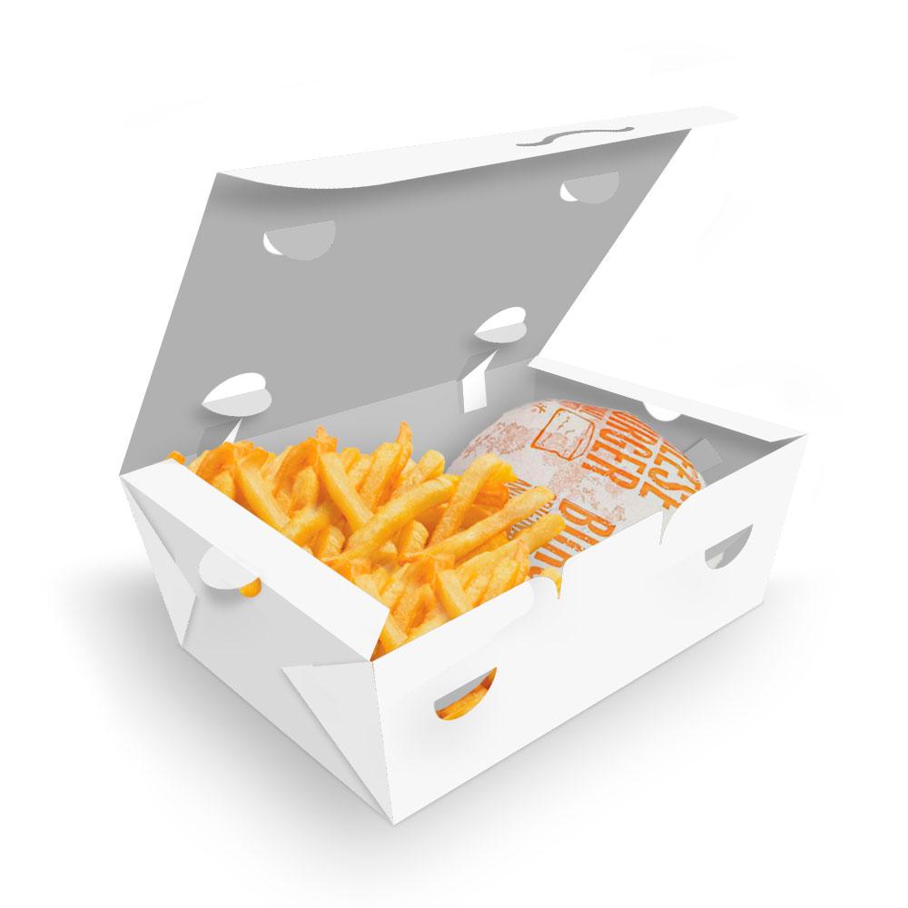 Delivery | Box para Combos (Hambúrguer e Batata Frita) PEQUENO BRANCO - 100 unidades