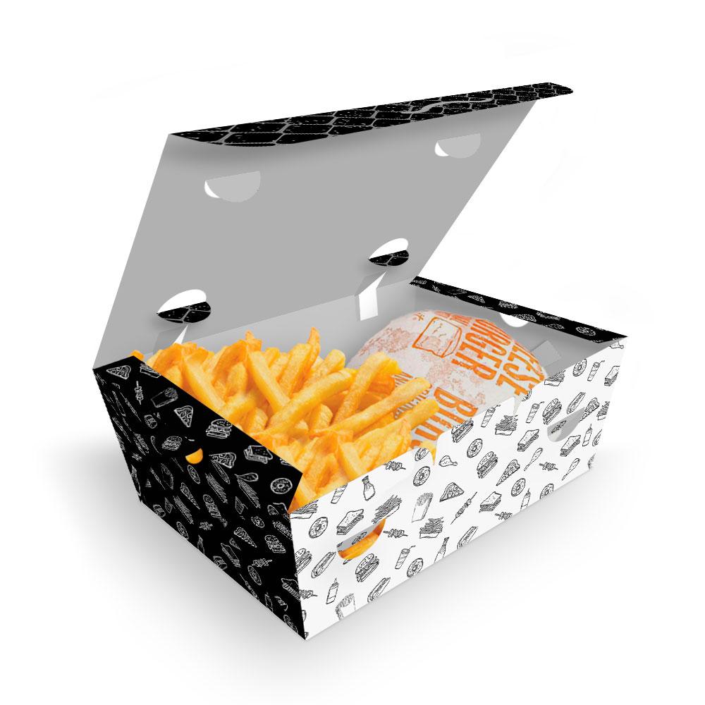 Delivery | Box para Combos (Hambúrguer e Batata Frita) PEQUENO PRETO E BRANCO - 100 unidades