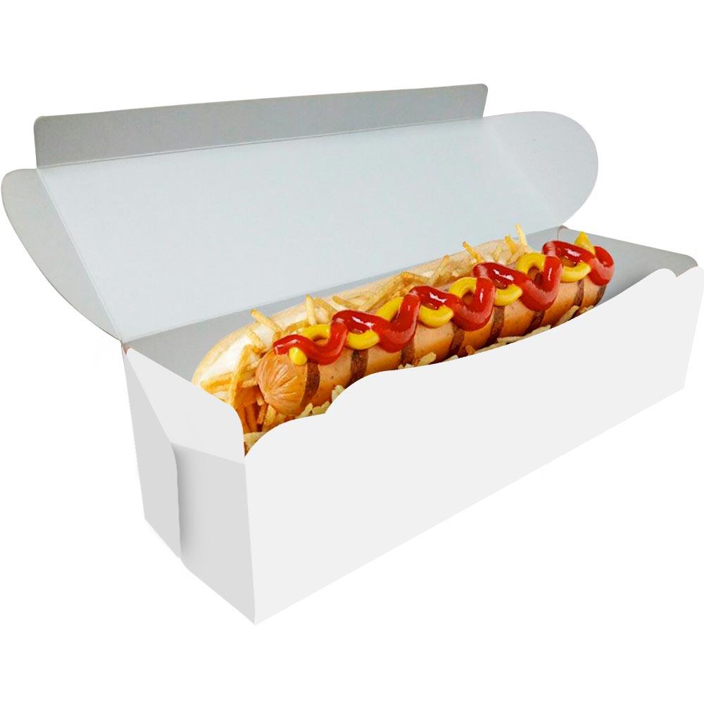 Delivery | Embalagem para Hot Dog 20cm BRANCO - 100 unidades
