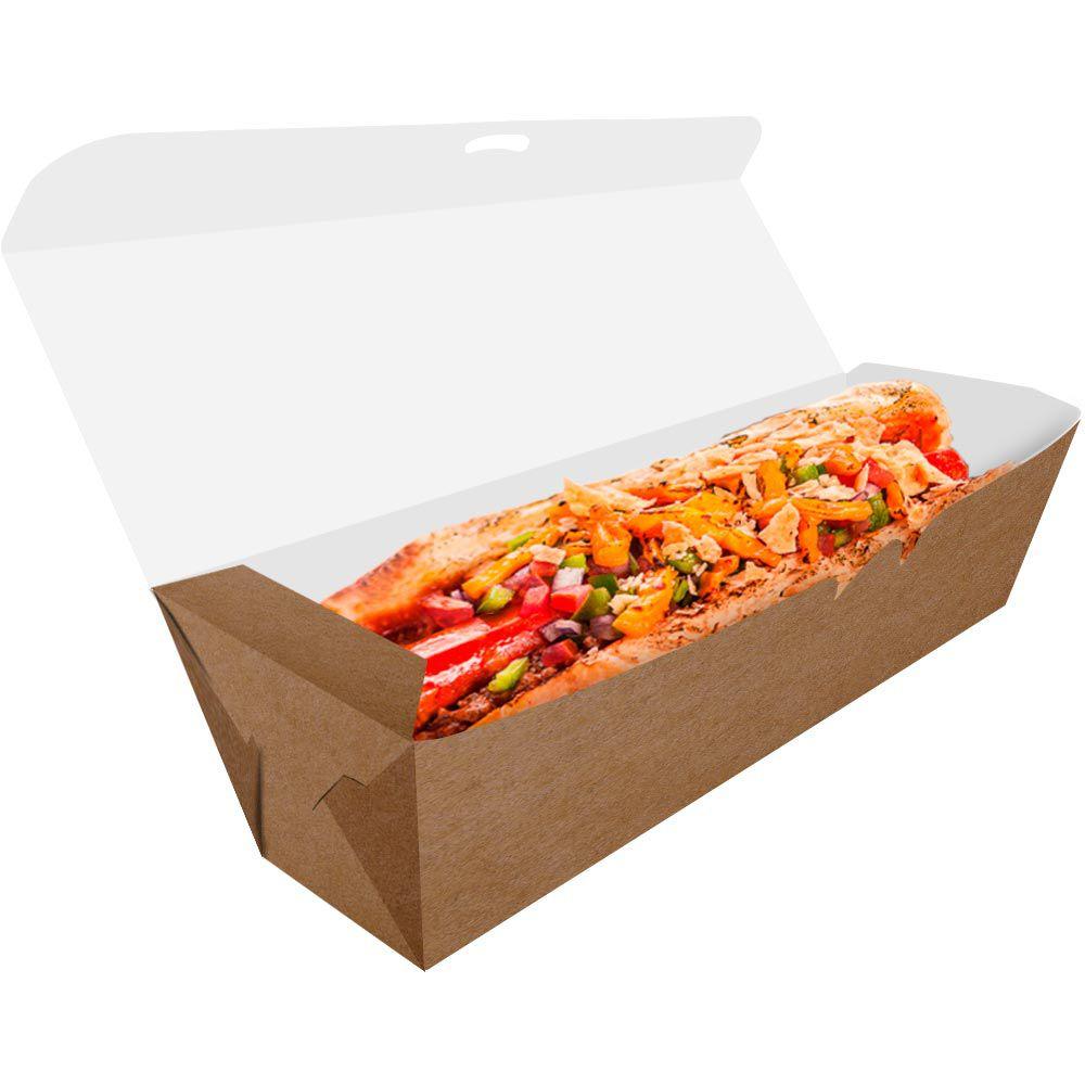 Delivery | Embalagem para Hot Dog 25cm KRAFT - 100 unidades
