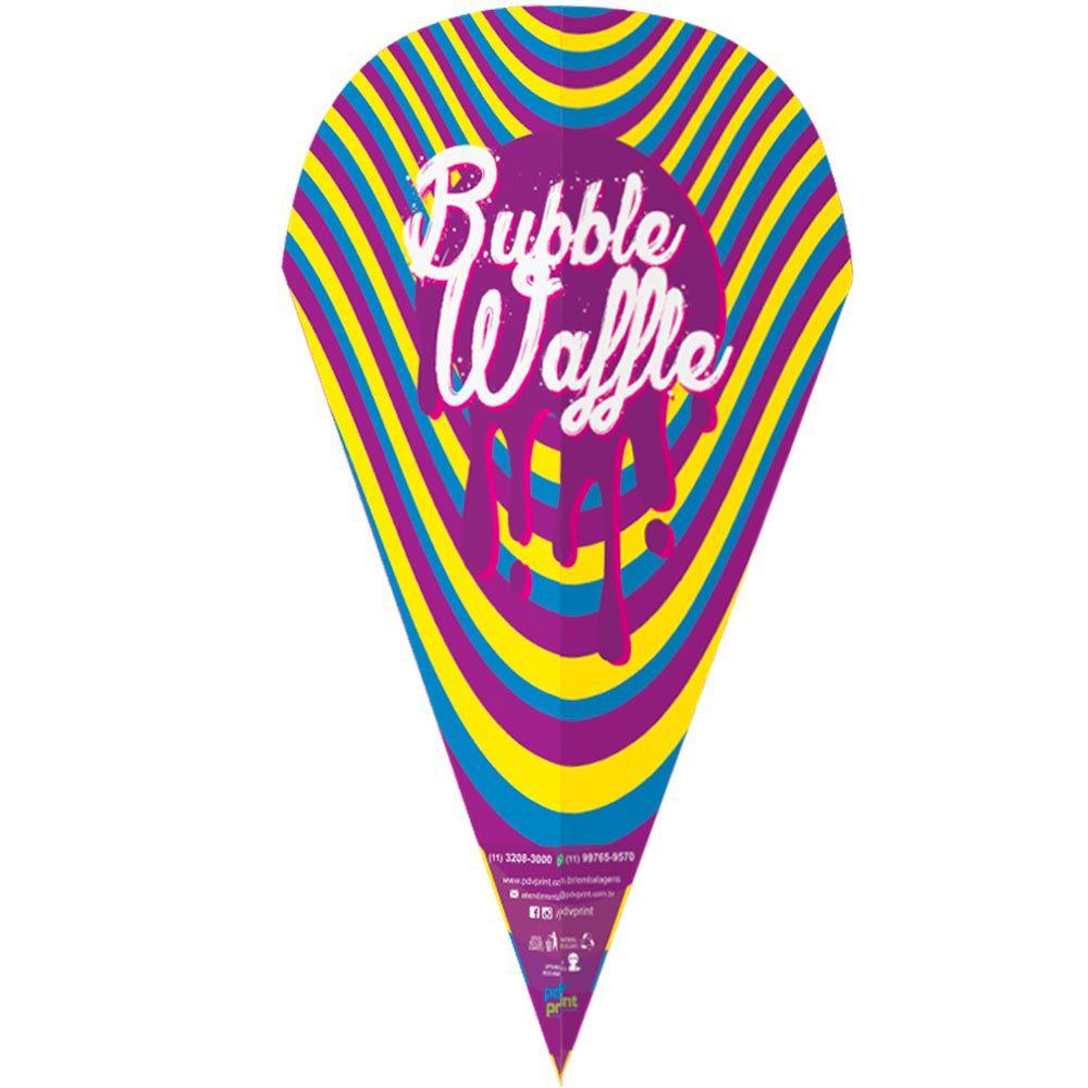 Embalagem Cone para Bubble Waffle 100un Várias Cores