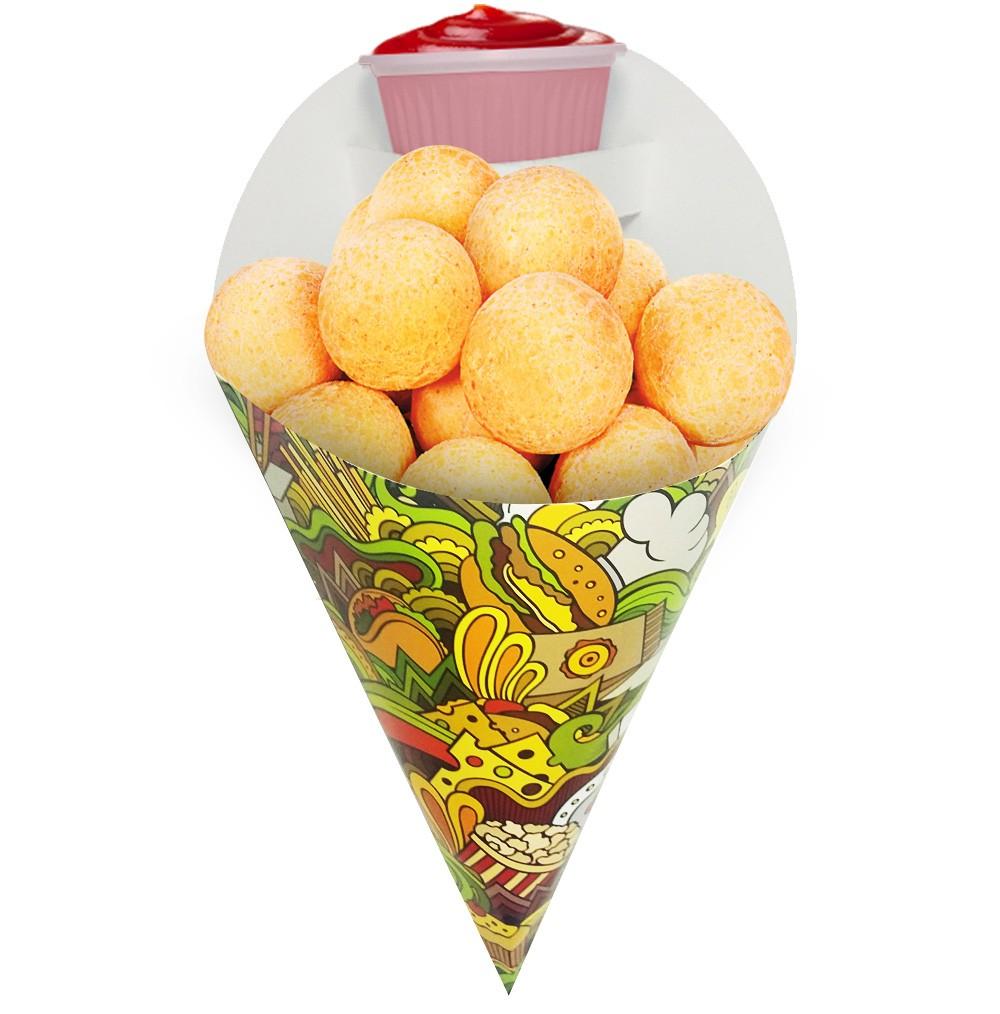 Embalagem Cone para Porções Diversas Grande Verde 100 un
