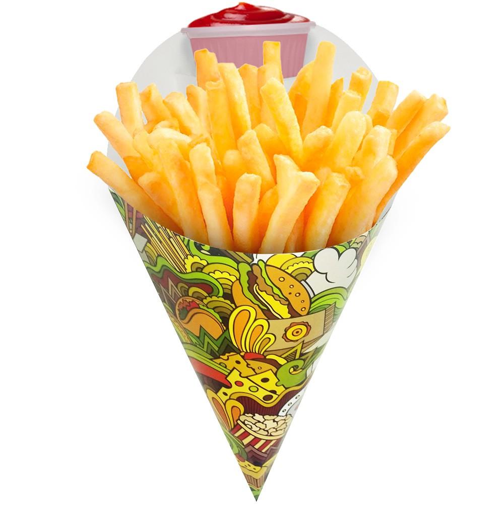 Embalagem Cone para Porções Diversas Grande Verde 1.000 un