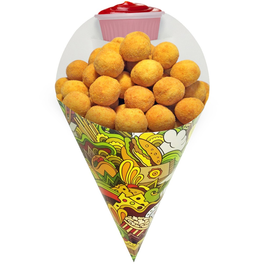 Embalagem Cone para Porções Diversas Grande Verde 500 un