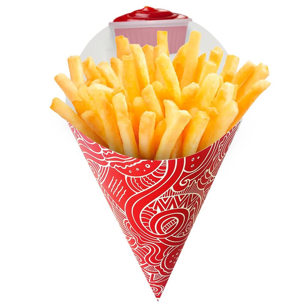 Cone | Embalagem Grande para Batata Frita e Porções – Vermelho – 100 Unidades