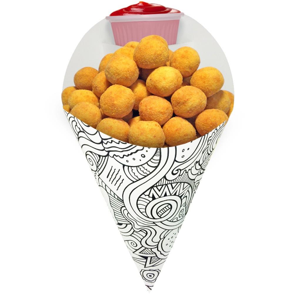 Cone | Embalagem Média para Batata Frita e Porções – Branco/Preto