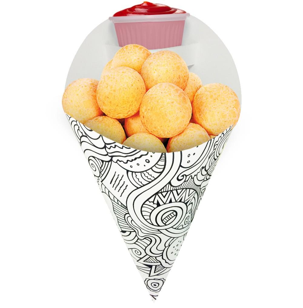 Embalagem Cone para Porções Diversas Médio Branco/Preto 500 unidades