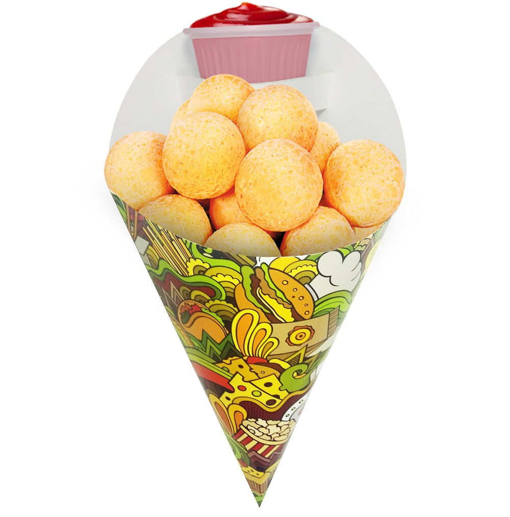 Embalagem Cone para Porções Diversas Médio Verde 500 unidades