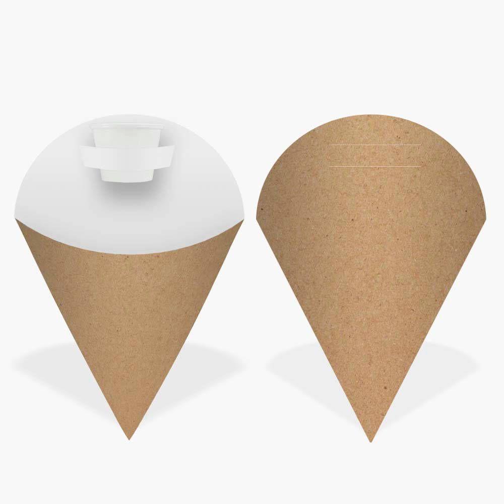 Embalagem Cone para Salgados KRAFT PEQUENA - 100 Unidades