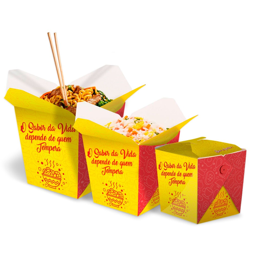 KIT | Embalagens Box para Yakisoba Delivery P,M,G AMARELO - 100 unidades de cada